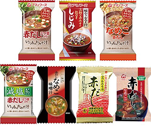 Amano foods freeze-dried miso soup red dashi 7items 35pcs food sets by Amano Food