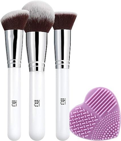 T4B ILU Must Have Set De 4 Accesorios De Maquillaje Profesional Incluye 3 Brochas Para Aplicar Base, Polvos, Rubor Y Limpiador De Brochas Morado: Amazon.es: Belleza