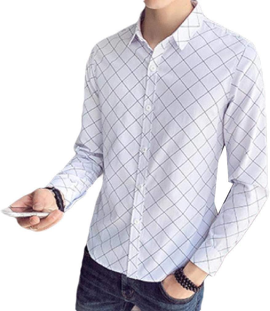 Mfasica Mens Slim Fit Plaid Casual Leisure Long Sleeve Button Regular Shirt