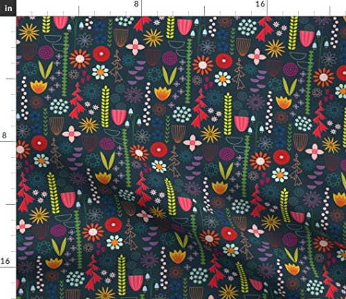 Gardening Fabric - Save The Bees! Summer Floral Garden Modern Home Decor Upholstery Flowers Mod Bee Print on Fabric by The Yard - Velvet for Upholstery Home Decor Bottomweight Apparel