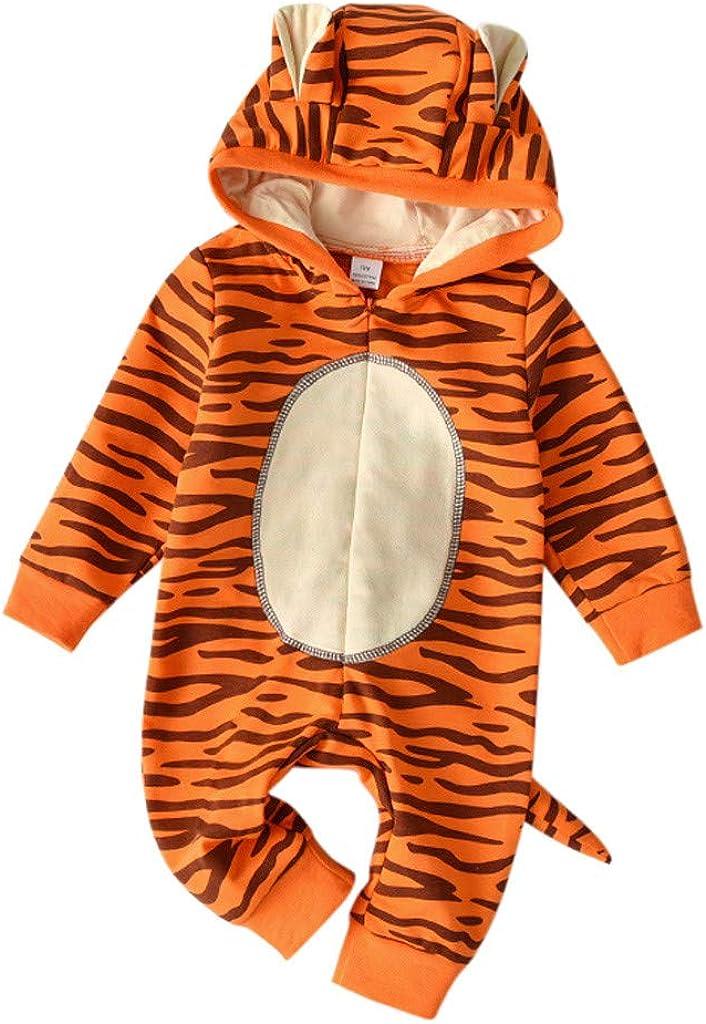 TPulling Baby-Jungen-Jungen-Karikatur-Tiger-mit Kapuze Spielanzug-Overall-Outfits Baby Overall Strampler Winterjacke Baby Schlupfhemd Wolle