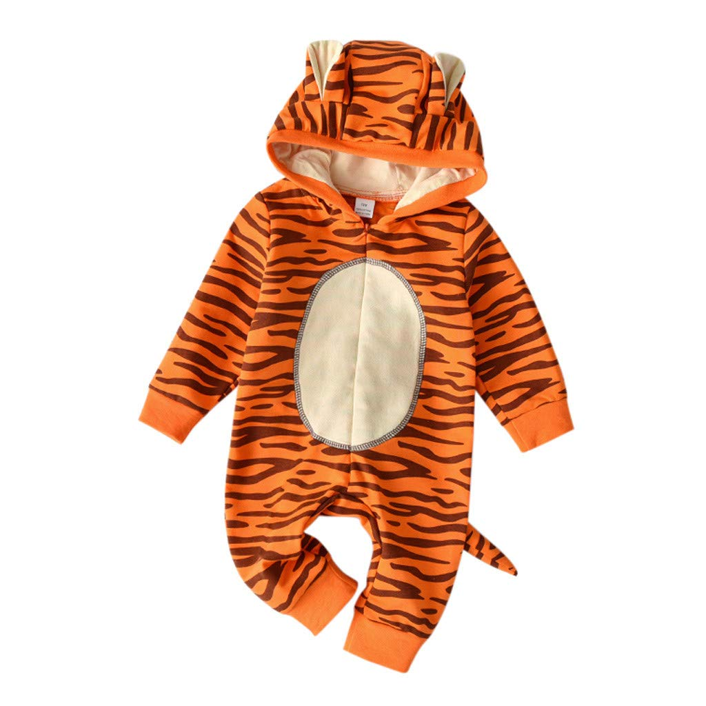 NUWFOR Newborn Infant Baby Girls Boys Cartoon Tiger Hooded Romper Jumpsuit Outfits (Orange,12-18 Months)