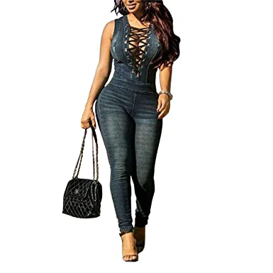 042e5a313f8 GADOTBOUTIQUE Women s Sexy Lace-Up Deep V Neck Sleeveless Denim Jeans  Jumpsuit Rompers Overalls (