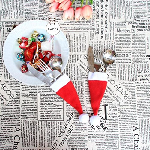 Clearance Sale!DEESEE(TM)Christmas Hat Knife and Fork Tool Christmas Decor by DEESEE(TM)_Home (Image #6)