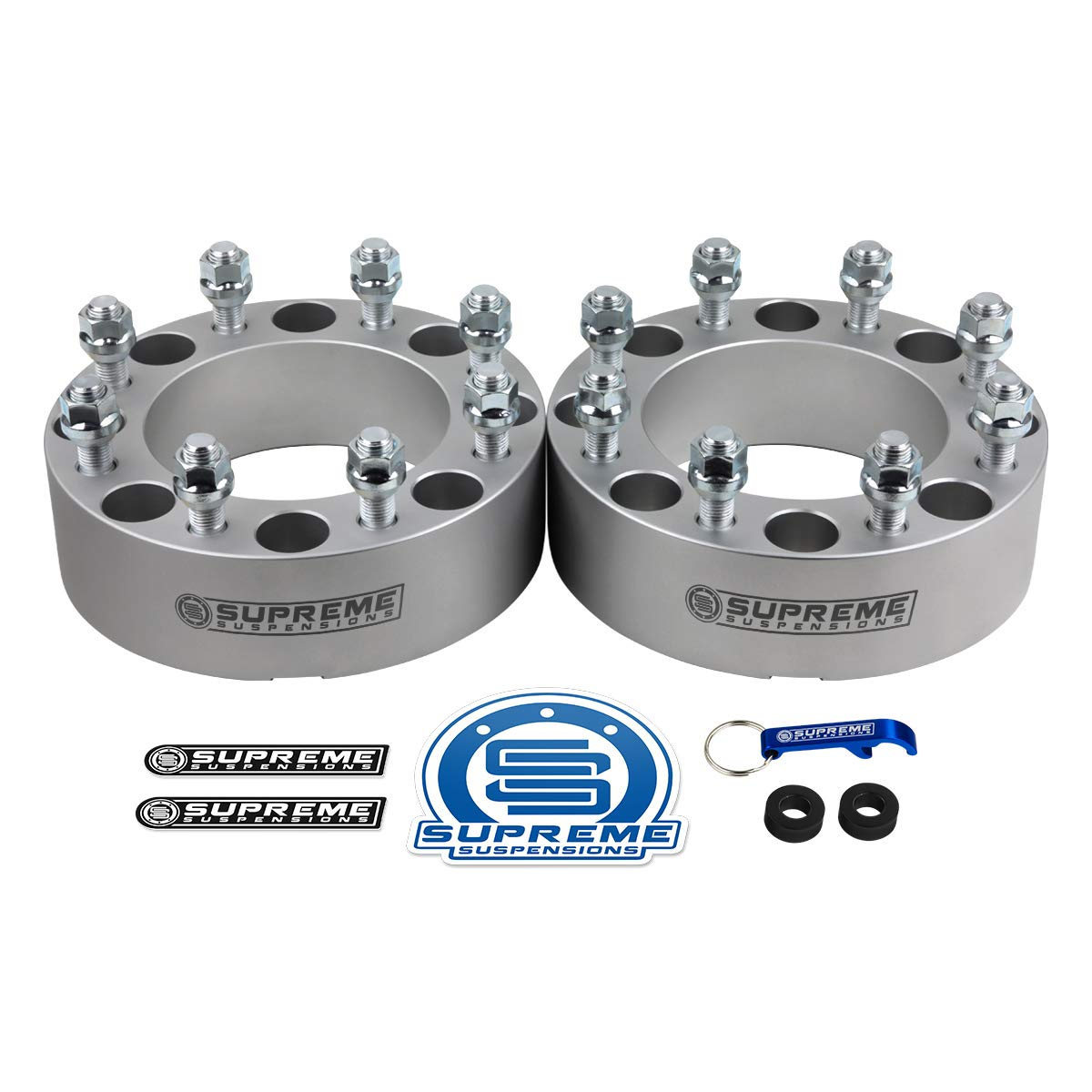 8x165.1mm BP with M14x1.5 Studs /& 130mm Center Bore Supreme Suspensions Silver 2pc 1.5 Wheel Spacers for 1988-2000 GMC K2500 4WD 8x6.5