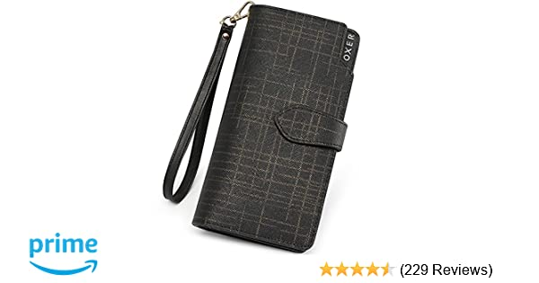 Amazon.com  FOXER Women Leather Wallet Bifold Wallet Clutch Wallet with  Wristlet Card Holder (Black2)  Clothing e91f06f8cd5af