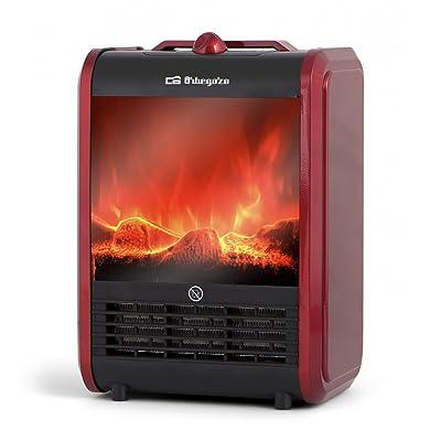 Orbegozo CM 9015 – Calefactor eléctrico con efecto chimenea de fuego real, 1500 W de potencia, 2 niveles de potencia de calor y sistema de calefacción cerámico