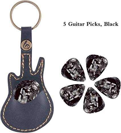 Black Fender Keychain Leather Guitar Pick Holder