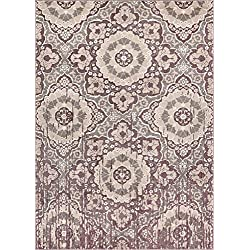 "Well Woven Aria Lavender Microfiber High-Low Pile Vintage Abstract Erased Medallion 5x7 (5'3"" x 7'3"") Area Rug Modern Floral Oriental Carpet"