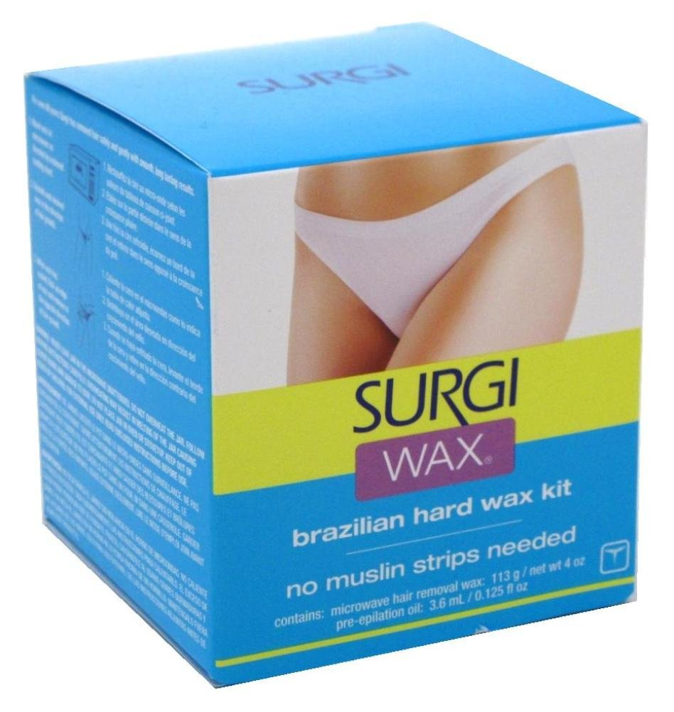 Surgi Wax Brazilian Hard Wax Kit For Private Parts 4 Ounce (118ml) (2 Pack) Surgiwax