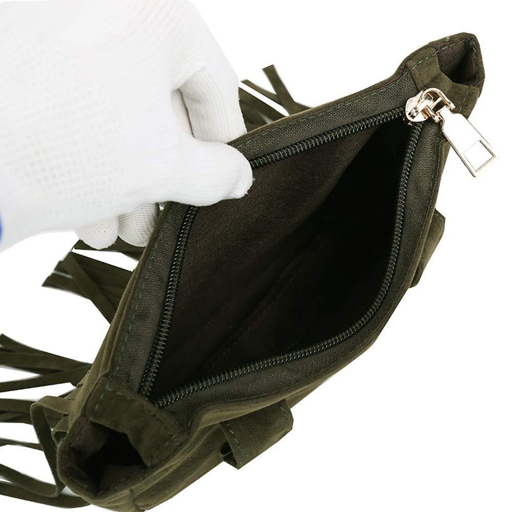 Tantisy ♣↭♣ Satchels for Women, Women's Fashion Tassel Pure Color Square Lock Messenger Bag Chest Bag Waist Bag Green by Tantisy ♣↭♣ (Image #5)