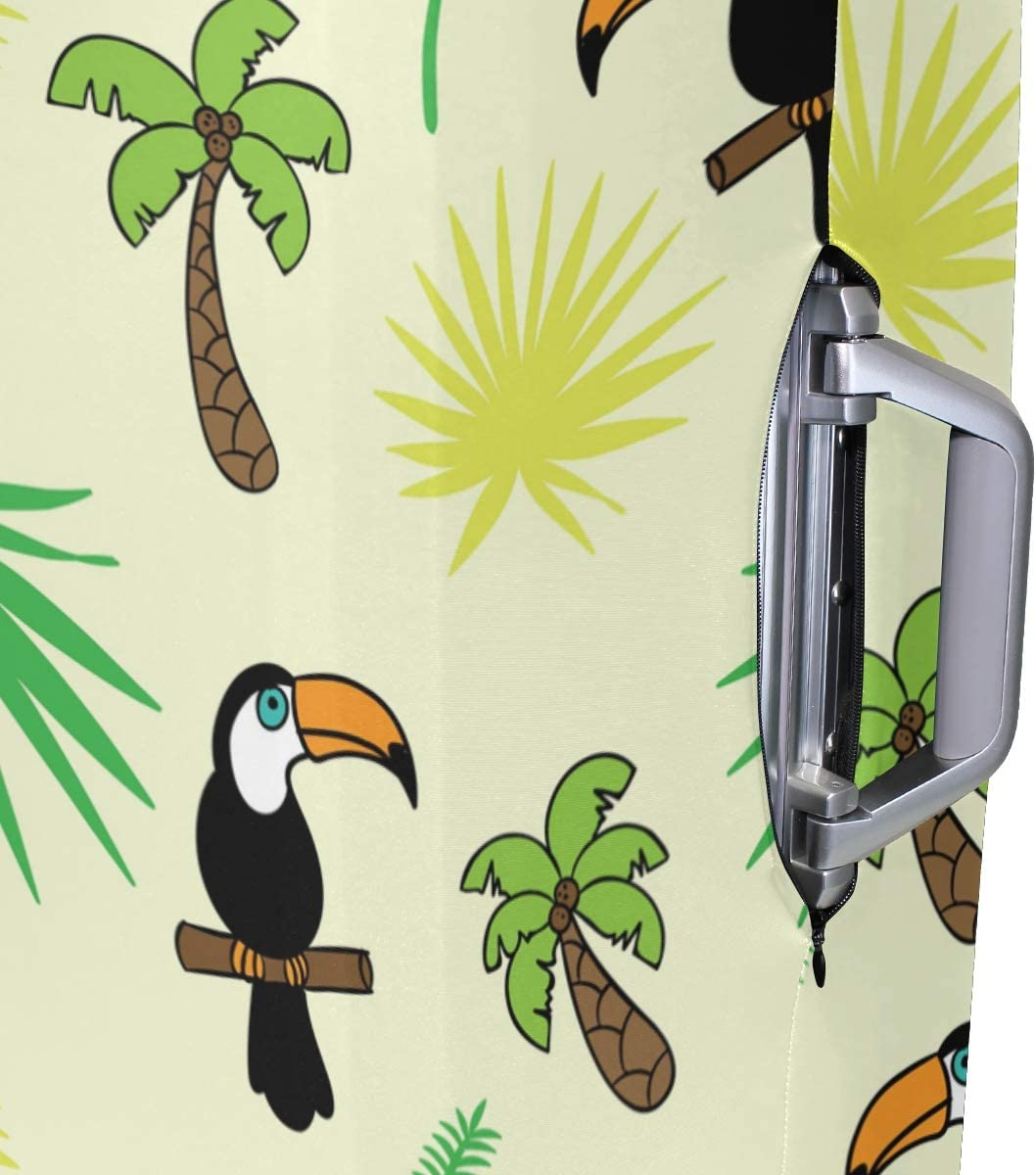 FOLPPLY Tropical Toucan Birds Palm Design Luggage Cover Baggage Suitcase Travel Protector Fit for 18-32 Inch