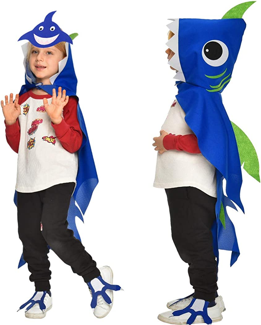 Kids Shark Costume-Cape and Mask for Baby Boys-Girls with 3D Fin Animal Fancy Dress up Ocean Sea Party Favors