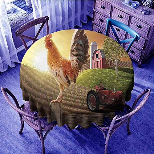Modern Fabric Tablecloth Farm Barn Yard Image Kitchenware and Home Decor Rooster Early Bird Natural Sunrise Garden Round Tablecloth Light Brown Red Diameter 36