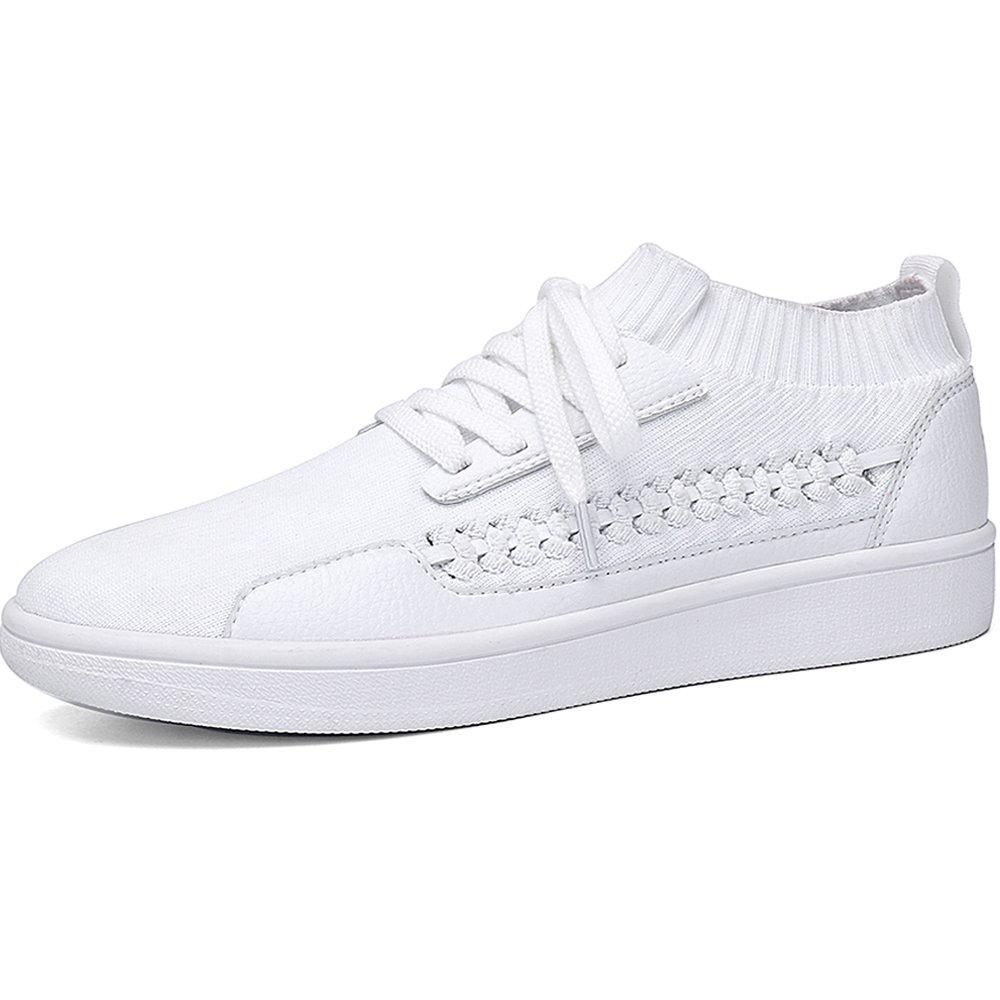 Soulsfeng Classics Skateboarding Skate Shoes Breathable Flyknit Upper, Non-Slip Sole, White 9 B(M) US=EUR40=UK6.5= 25.5CM White