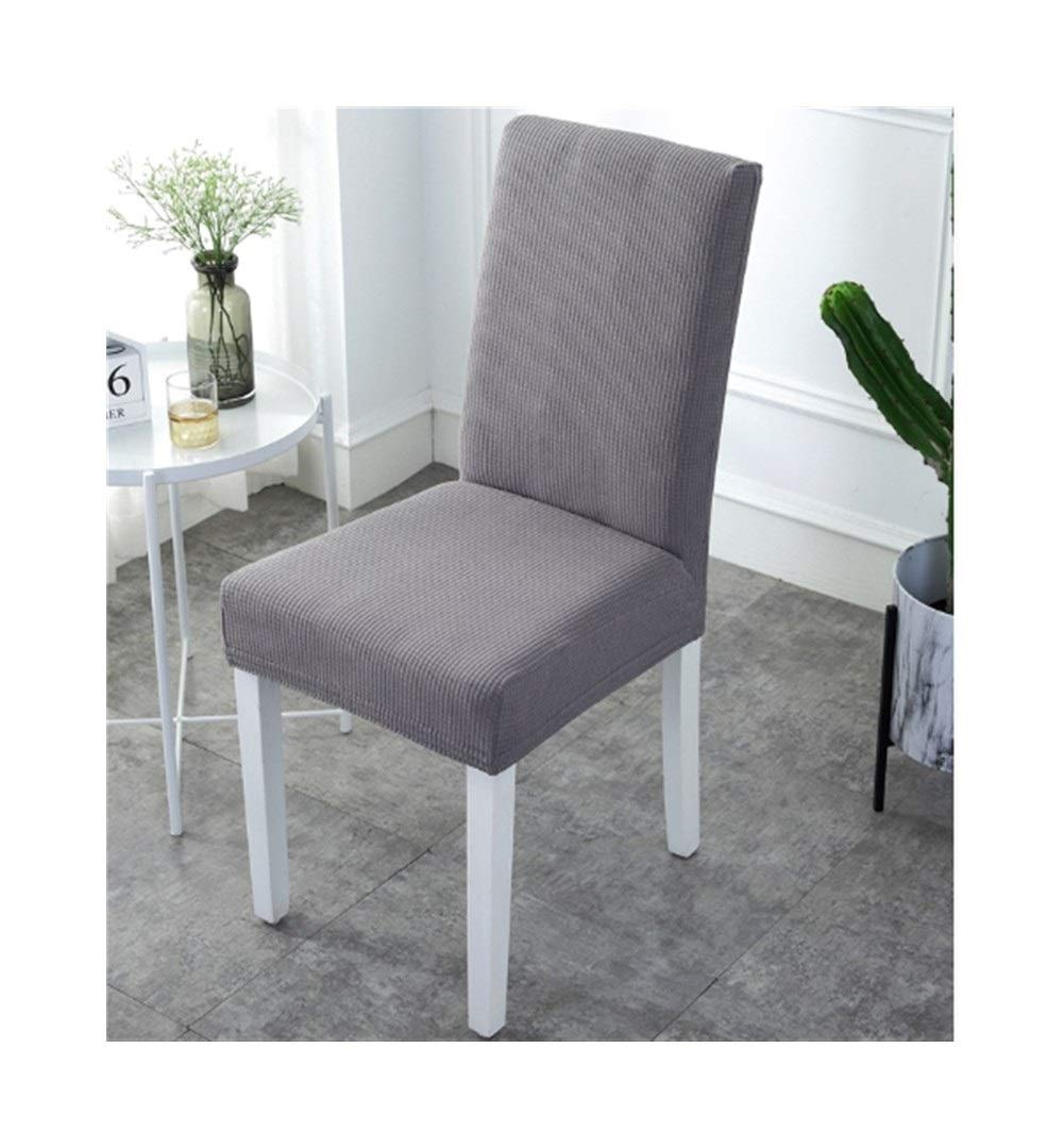 Classic 6pcs Removable Washable Dining Chair Protector Covers, Telescopic for Banquet Square Chairs (Color : Gray)