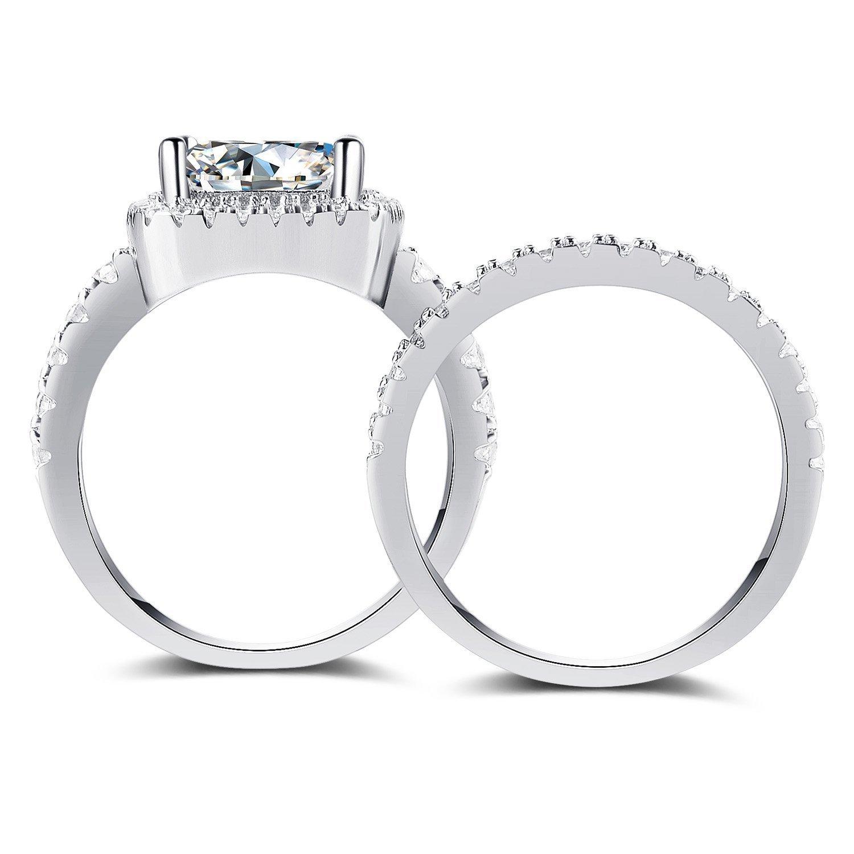 Panghoo 925 Sterling Silver Cz Diamond Wedding Ring Set for Women (5) by Panghoo (Image #3)
