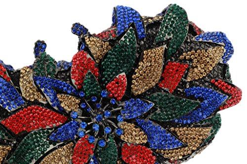 Yilongsheng femmes Flower Surround avec Colorful feuilles cristaux Embrayage Sacs pour Party(noir multicolore)