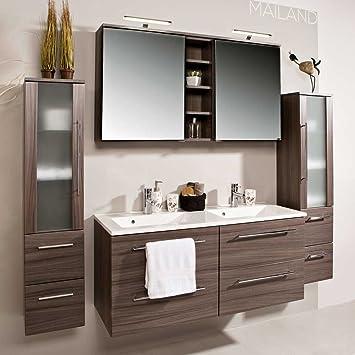 Badezimmermöbel Set mit Doppelwaschtisch Eiche dunkel (4-teilig ... | {Badezimmermöbel 8}