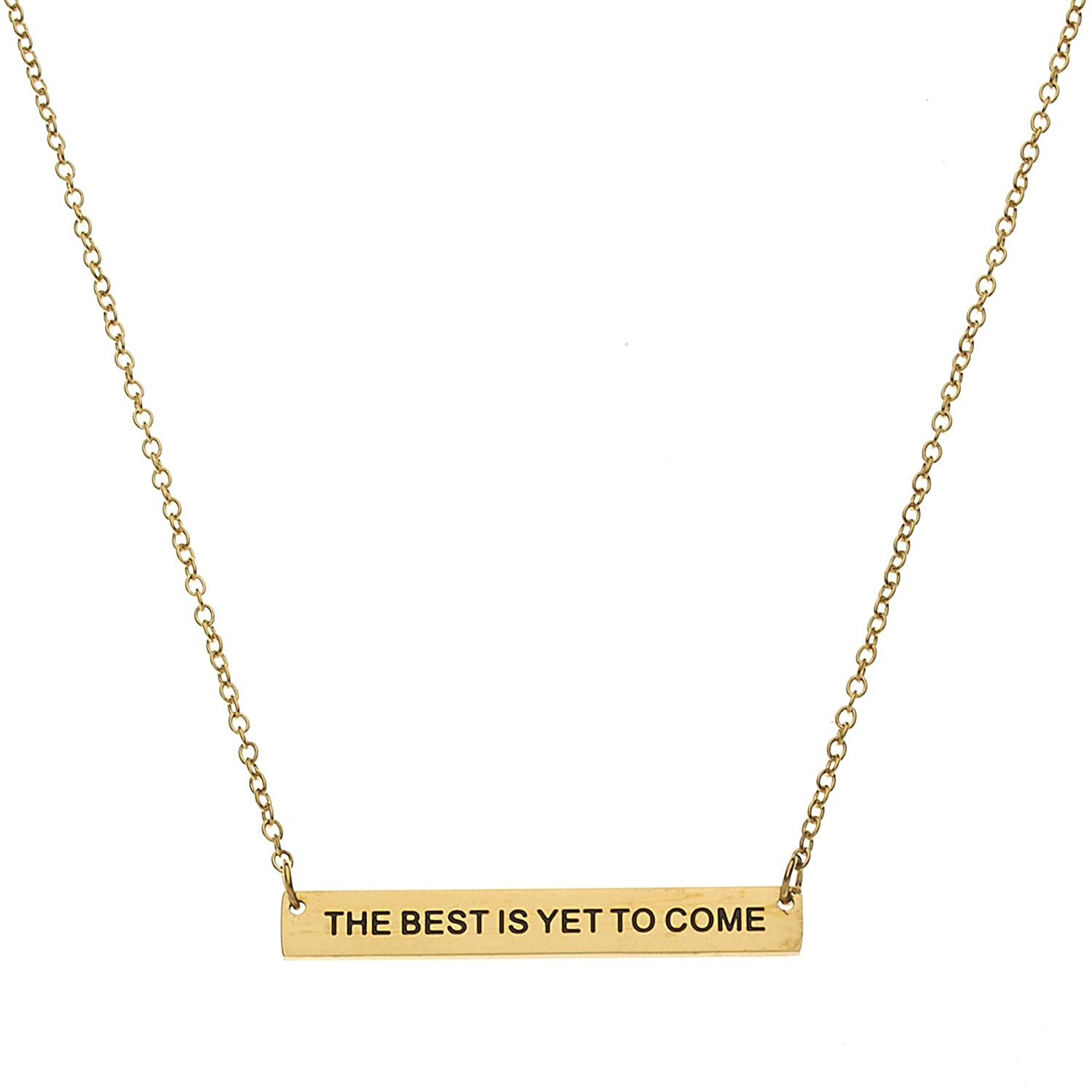 Inspirational Necklace Beads /& Pearls Jewelry The Best is Yet to Come Bar Pendant Necklace 18 Chain with Extender Inspirational Gifts for Women
