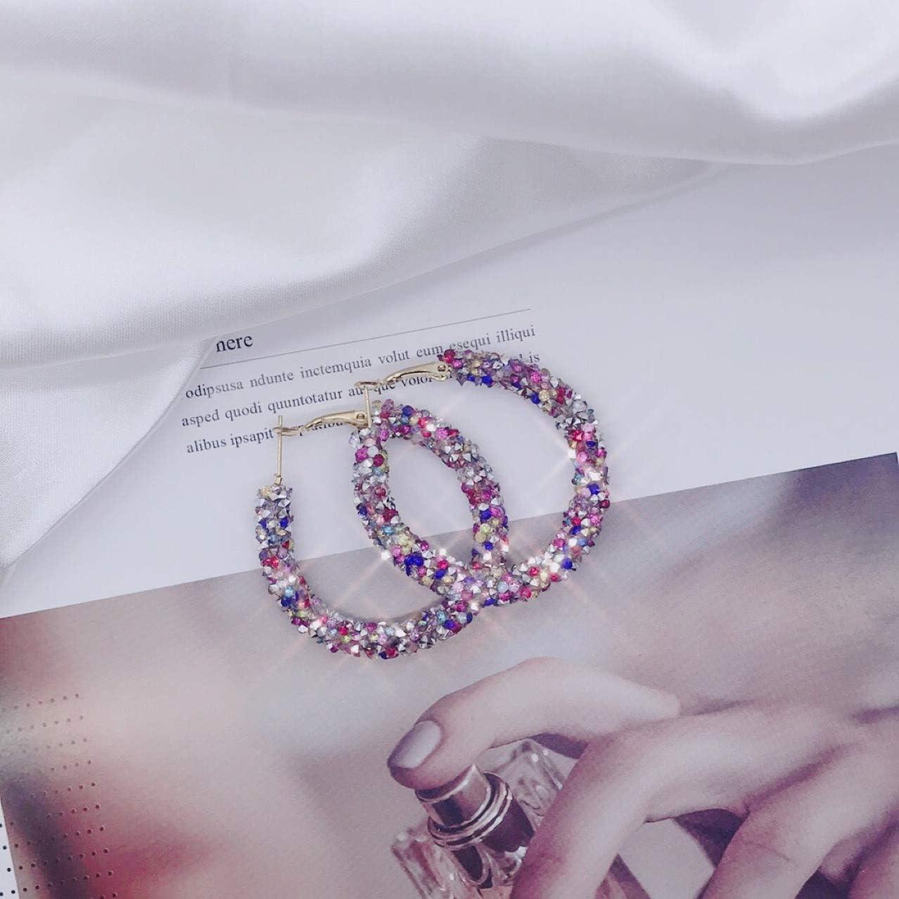 Pendientes De Aro Redondos De Cristal Suave Plata Rosa Simple Pendiente Retro Exagerado Mujer Creación Poética