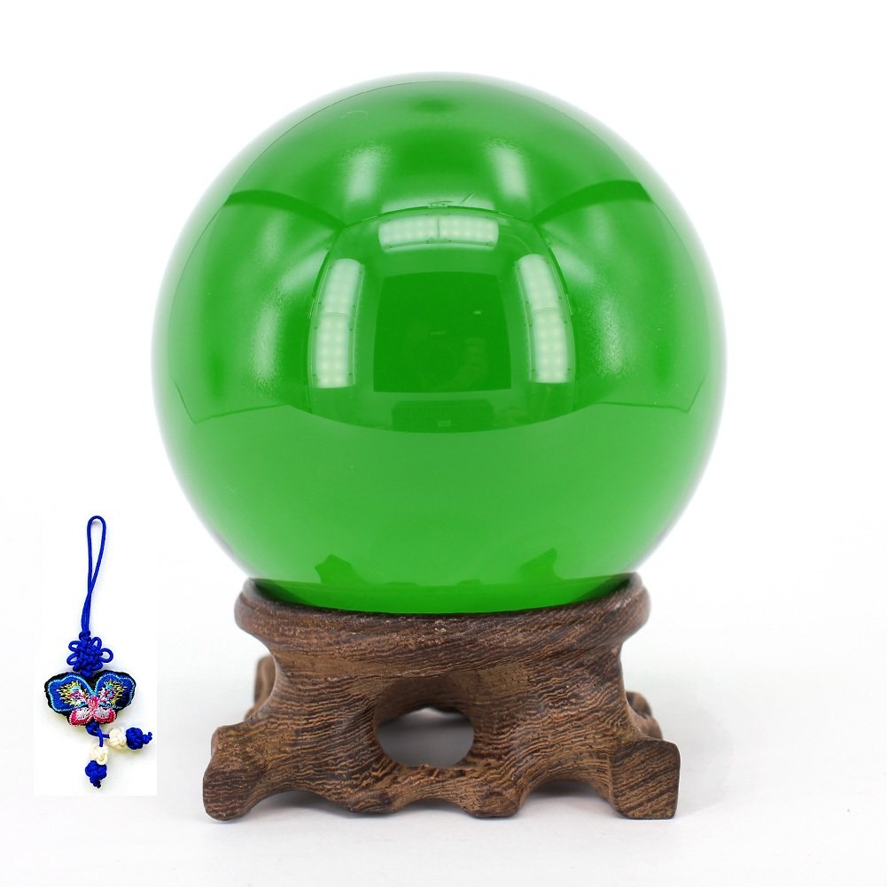 ZHAMS Crystal Ball 3 Inch (80mm) With Exquisite Root Carving wood stand (Green) by ZHAMS