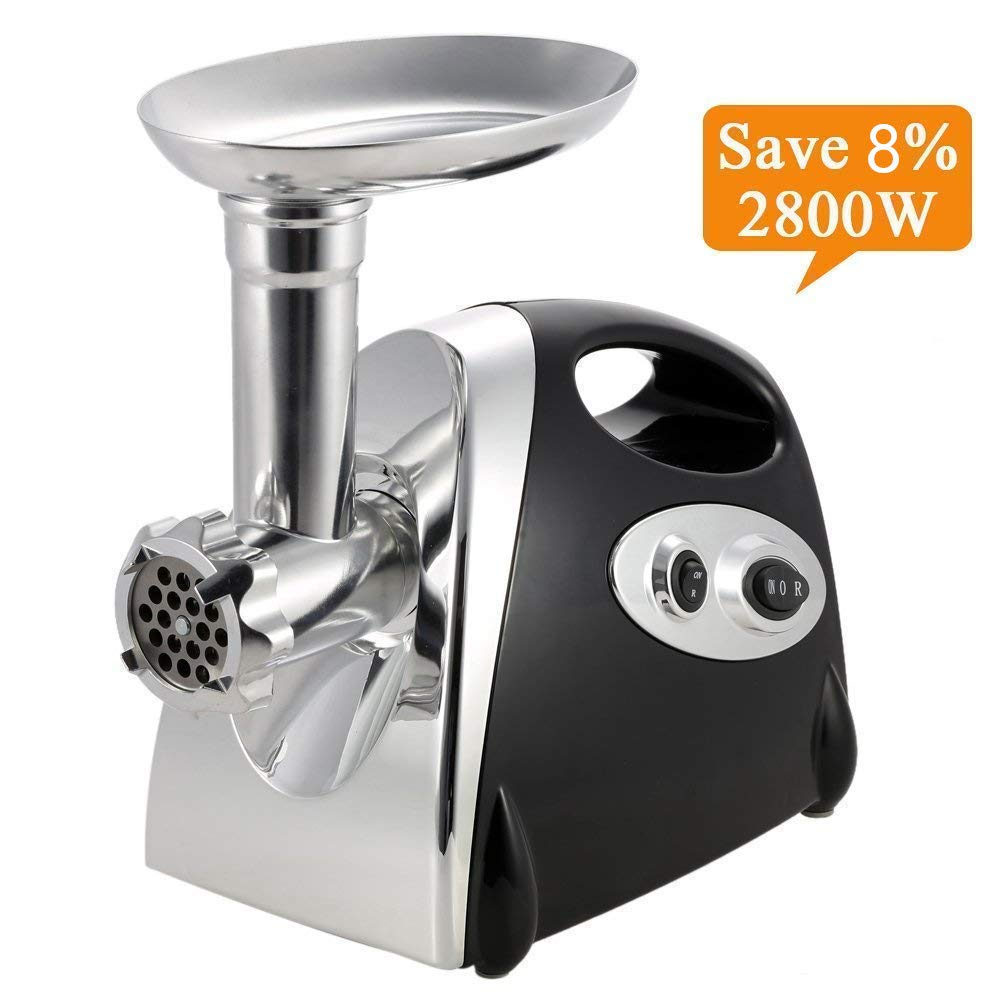 Electric Meat Grinder Stainless Steel and Duty Household Sausage Stuffer Food Processor Grinding Mincing Machine with Kubbe Attachement-ZHIQII 2800W Heavy Duty Mincer(Black) ETL Approved