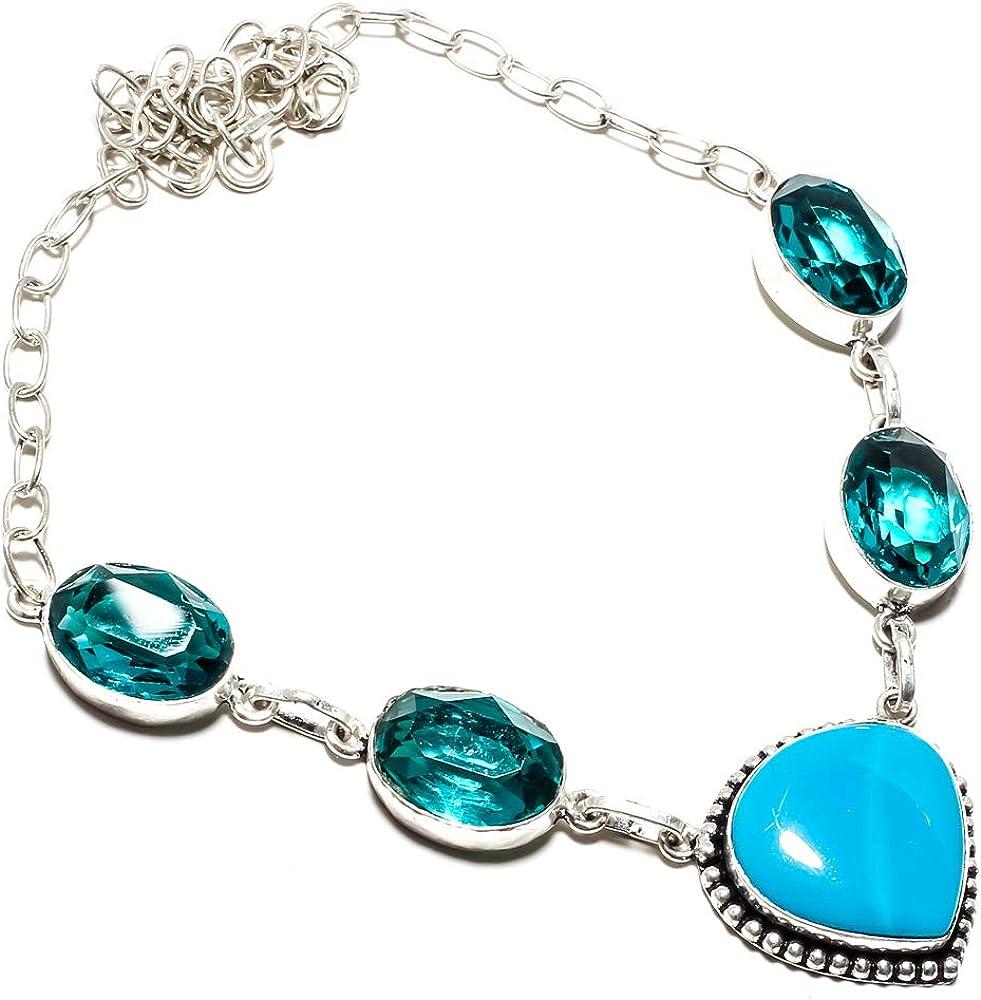 jewels paradise Collar de Gemas de turmalina Azul y ágata Azul para paraíso, Hecho a Mano, Chapado en Plata de Ley 925, Cadena de eslabones Ajustable (SF-1303)