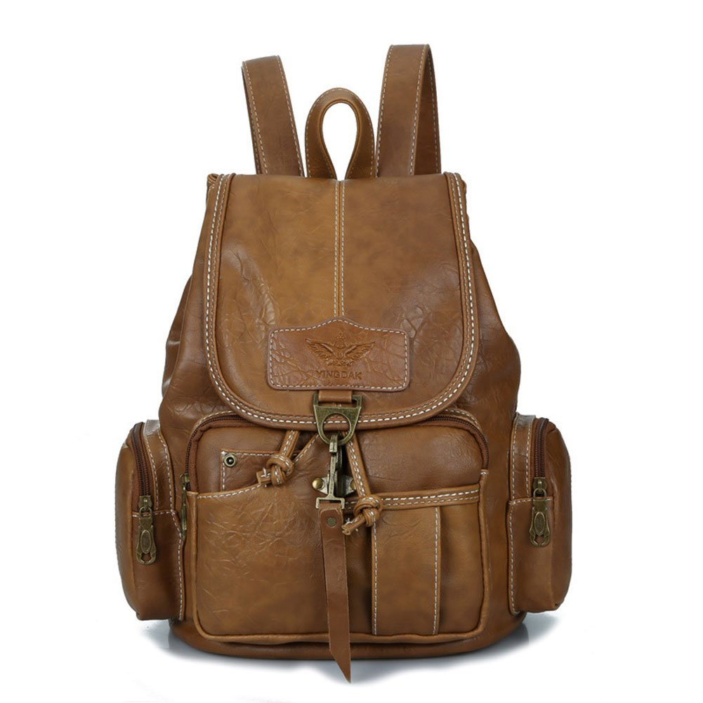 Womens New Fashion Backpack Vintage Style Waterproof Leather Backpack Purse for Girls Light Brown