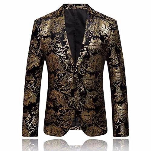 Hommes Fit Or Veste Slim Premium Fleur D'or Pour Blazer De Lenfesh Costume POqv8Iwn