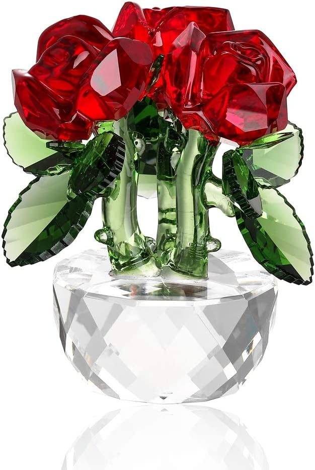 Crystal Flower Figurine Home Decoration, Handmade Flower Statue Ornament, Crystal Crafts Paperweight Collectible, Come with Gift Box, Great Gift for Birthday Holidays Christmas (Rose-A-Red)