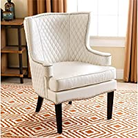Abbyson Living Olivia Quilted Leather Armchair in White