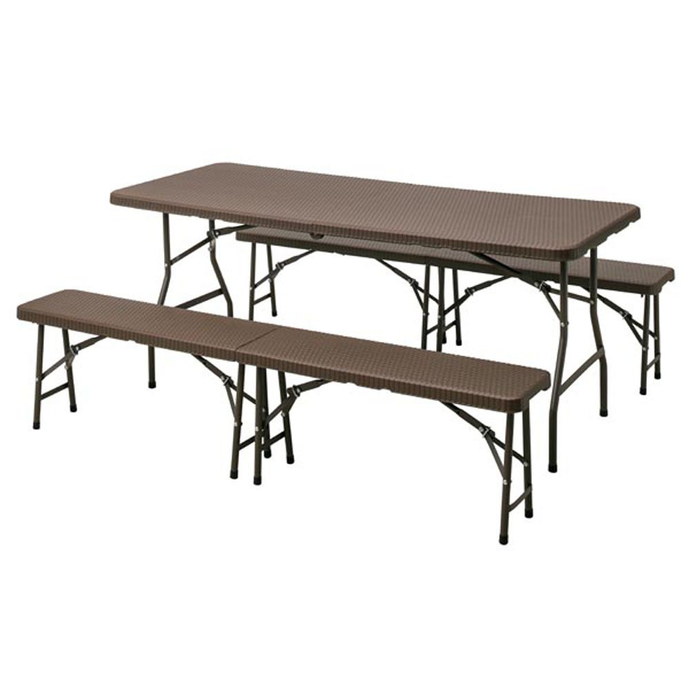 イージーキャリー ダイニングテーブル ラタン調 3点セット ブラウン B07BMRCJ1H