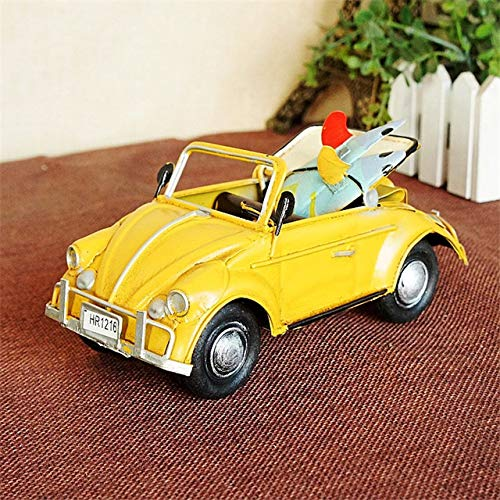 ZAMTAC HAOCHU Metal Convertible Car Model Diecast Vintage Classic Cars Alloy Toys Head to Beach Surfboard for Kids Adults Desk Decor - (Color: Yellow)
