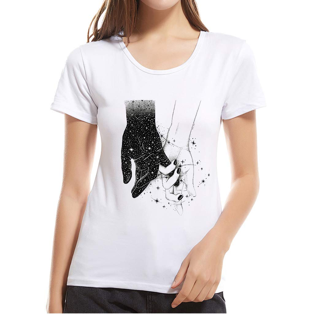 TWGONE Short Sleeve Shirts for Women Summer Ladies Round Neck Modal T-Shirt Top(X-Large,White)