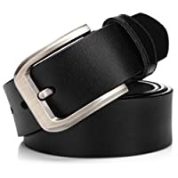KeeCow Mens Leather Belt,100% Genuine Leather Belt for Men,Great for Suits/Jeans/Casual and Formal Wear,Suits Up To 44inch Waist,Black & Brown