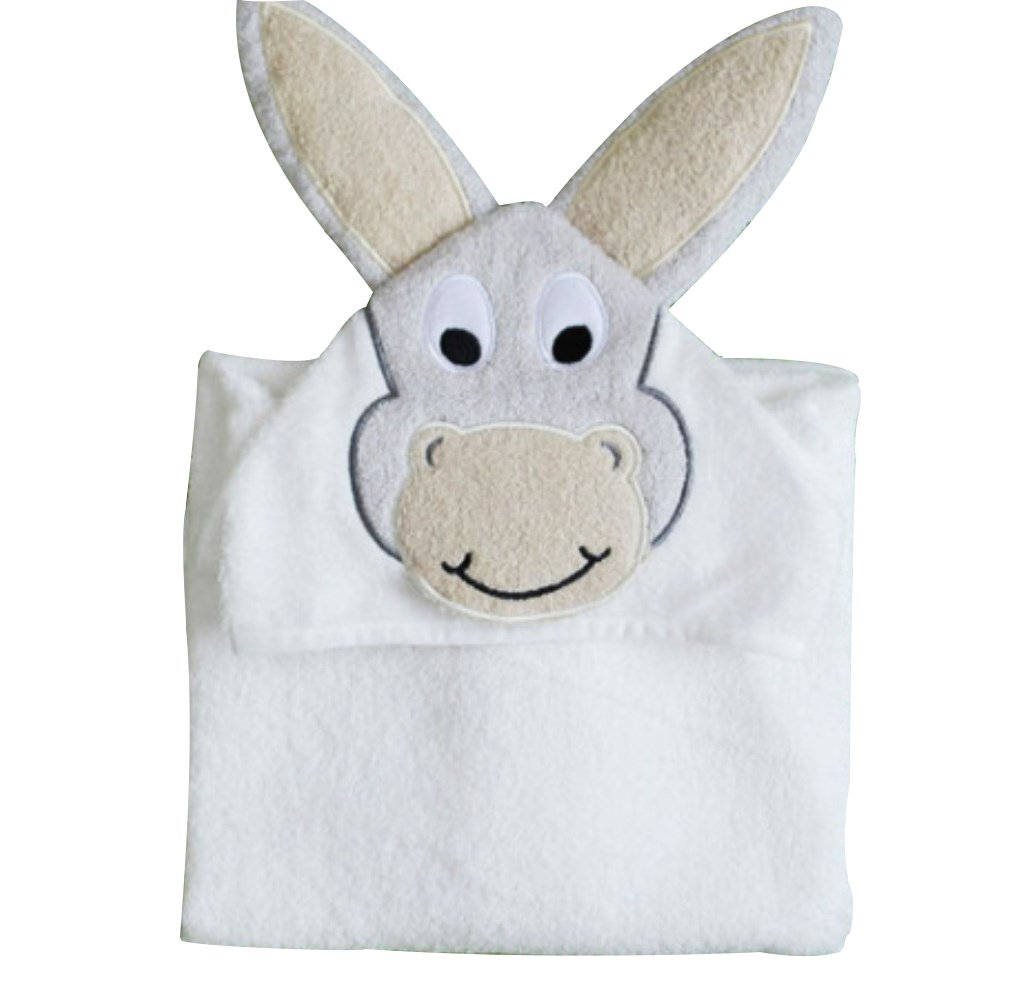 WDART WDA Cute Cartoon Cool Towels Children's Hooded Bathrobe Cloak Beach Towel Spa Towels (Donkey, 70140cm)