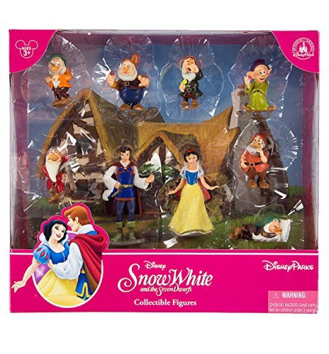 Disney Parks Snow White and the Seven Dwarfs Figurine Playset Play Set Cake Topper Featuring Snow White, The Prince, Bashful, Doc, Dopey, Grumpy, Happy, Sleepy, and Sneezy by Disney