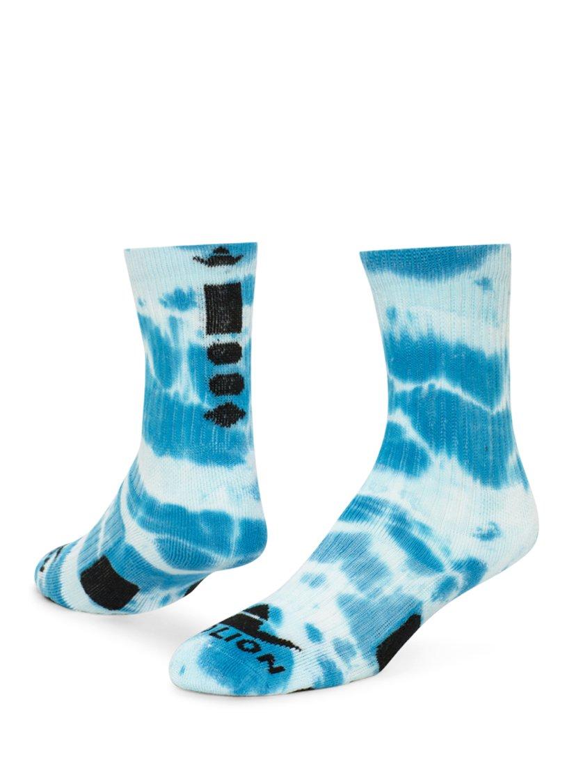 RedLion Maxim Tie Dye Athletic Socks (Neon Blue/White - Large)