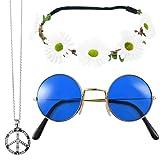 Hippie Set 3-tlg. - Margeriten Haarband, Peace Kette und Lennon Brille