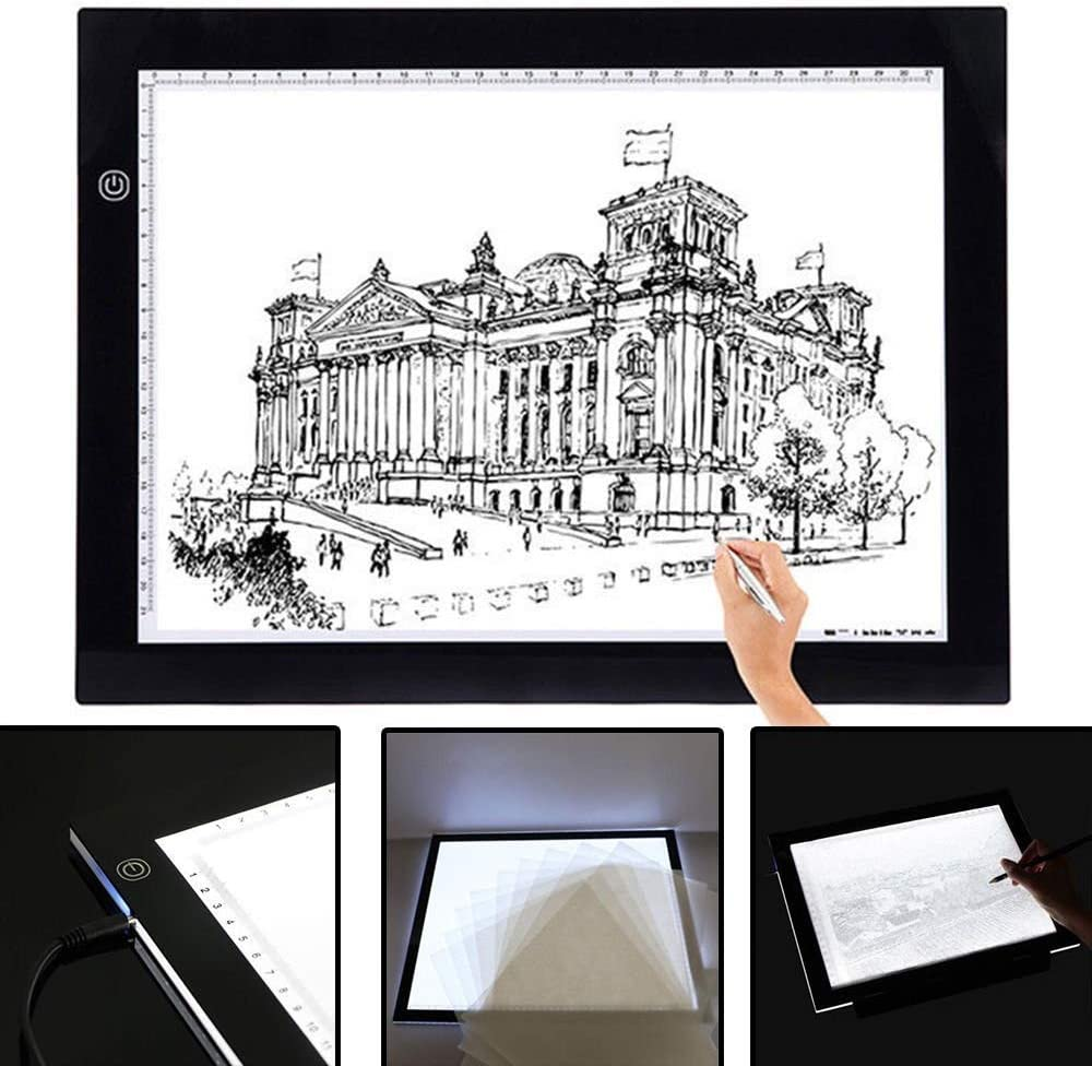 LED Tableta de Luz de Iluminaci/ón de la Caja de Alimentaci/ón Micro USB Ideal para Animacion Tatoo Dibuja Mesa de Luz Dibujo A4