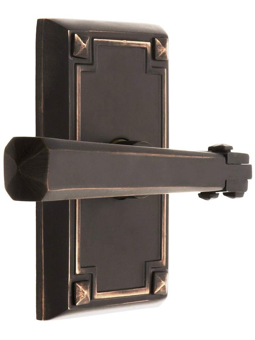 Craftsman Style Lever Door Set With Rectangular Rosettes Right Hand Privacy In Oil Rubbed Bronze. Door Hardware.