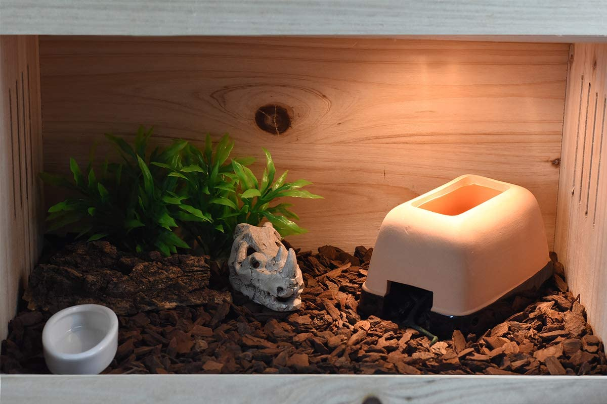 OMEM Reptiles Hideout Humidification Cave with Basin for Lizard Small
