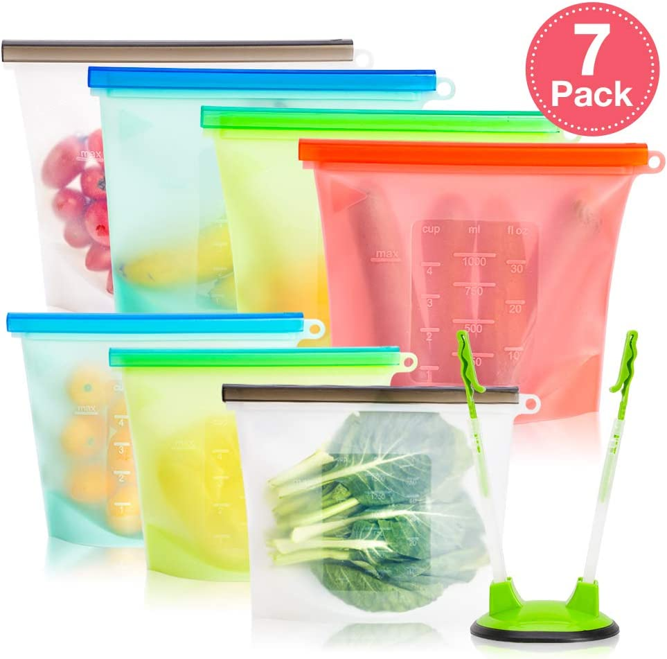 Silicone Storage Bags Reusable, Ziplock Food Storage Bags, Airtight Seal Leakproof Container for Fruits Vegetables Snacks Sandwich, Microwave Dishwasher & Freezer Safe (7 Set)