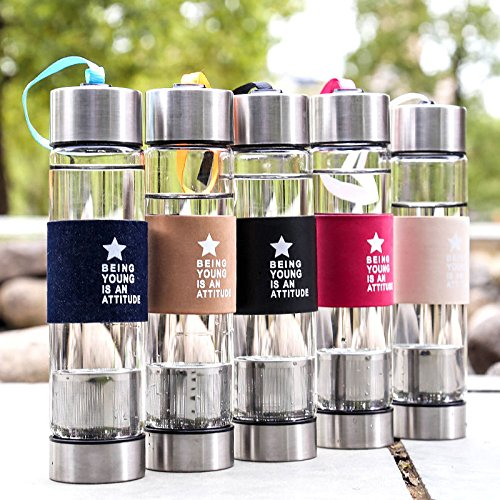 AA 450ml Water Glass Bottle Sports Travel Mug Cup w/Tea Infuser Cover