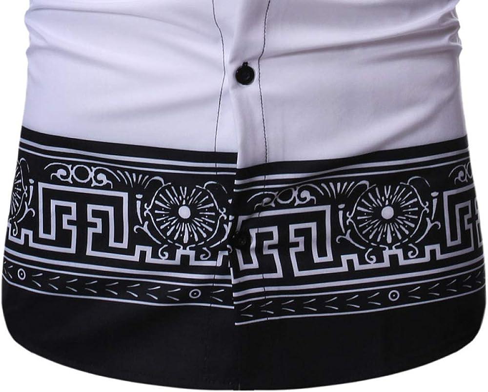Loeay Camicie da Uomo a Maniche Lunghe barocche Camicie da Uomo Slimharajuku con Stampa Floreale a Vita Bassa Pantaloni da Uomo Chemise Homme