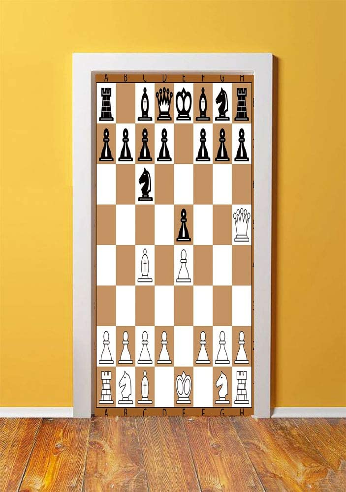 Board Game 3D Door Sticker Wall Decals Mural Wallpaper,Opening Position on Chessboard Letters Numbers Squares Pieces Print,DIY Art Home Decor Poster Decoration 30.3x78.8495,Brown Light Brown Black