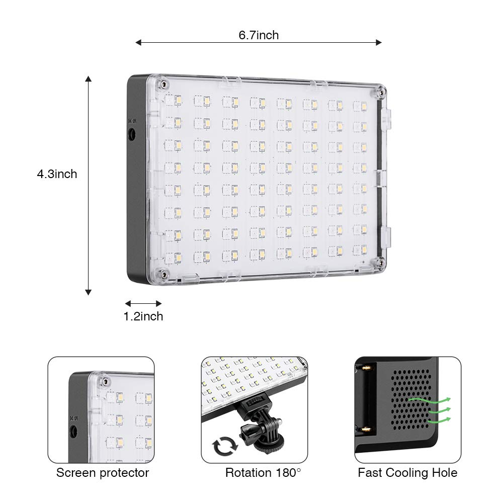 GVM RGB LED Camera Light Full Color Output Video Lights with APP Control CRI97 Dimmable 3200K-5600K Light Panel for YouTube DSLR Camera Camcorder Photo Lighting, with Battery, Filter, LCD Display by GVM Great Video Maker (Image #2)