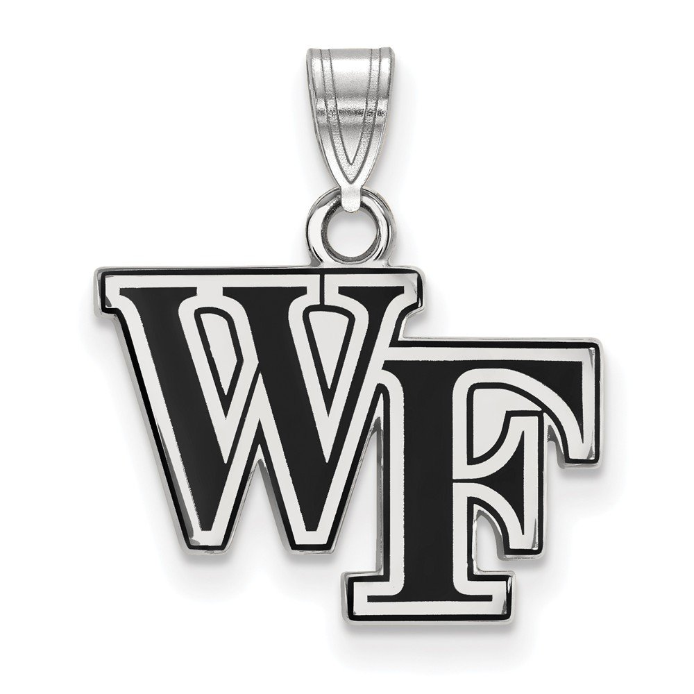 Solid 925 Sterling Silver Wake Forest University Small Enamel Pendant 17mm x 19mm