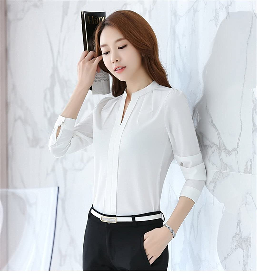 2fbb44f6cfca CHIFFON Women Blouses Long Sleeve Blouse Tops Chemise Femme Shirts White  Pink Purple at Amazon Women's Clothing store: